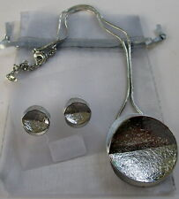 SILVER & PEARL WHITE DISC NECKLACE & EARRING SET RHODIUM COATED BIRTHDAY GIFT