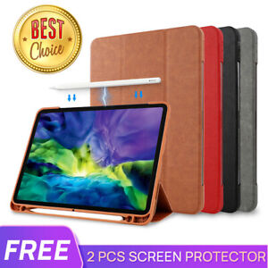 Fr iPad Pro 9.7 10.5 11 12.9 2021 Air 4 10.9 Leather Case Cover Pencil Charging