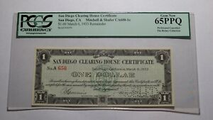 $1 1933 San Diego California Clearing House Obsolete Currency Certificate PCGS