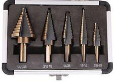 5Pcs High Quality HSS Step Titanium Cone Drill Bit Tool Set Hole Cutter +Case UK