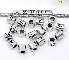 36 Mixed Zodiac Spacer Beads Fit Charm Bracelet