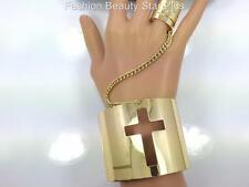Cross Outline Metal Cuff Slave Bracelet Ring - Gold Tone