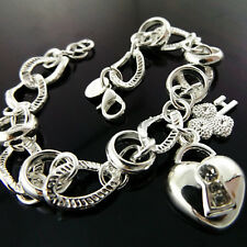BRACELET BANGLE  REAL 925 STERLING SILVER S/F DIAMOND SIMULATED HEART DESIGN