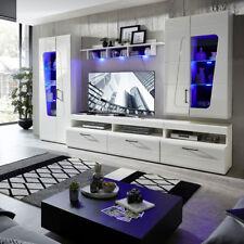 Wohnwand Anbauwand Schrankwand Wohnzimmer Set Spirit Plus weiß Hochglanz mit LED
