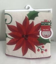 """NEW 48"""" Christmas Tree Skirt Vintage Look Red And White"""