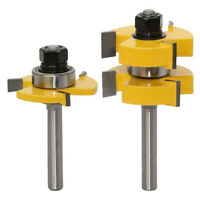2x T Type Router Bits Shank Cutter 3-Teeth Trimming Milling Woodworking Tool GR