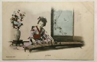 Vintage Asian Japan Geisha Girl Solo Musician Real Photographic Postcard