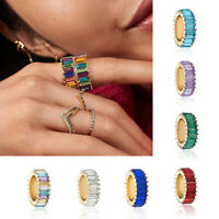 Multi-Color Ring Crystal Rhinestone Geometric Rings Charm Jewelry Accessory
