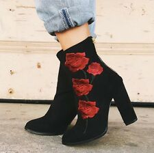 LF Intentionally Blank black Rosa Embroidered Suede Boot sz 39 (US9)