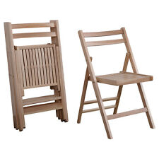 Set of 4 Wood Folding Chairs Natural Finish Patio Garden Backyard Furniture New