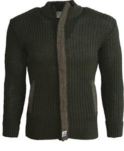 100% British Wool cardigan with Harris Tweed Placket zip fastening 2 pkts#13051