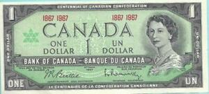 🍁 CANADA 🍁 AU-UNC 1867-1967 $1 Banknote 🍁 Special Serial Number 🍁