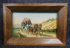 Vtg ARIOSA COFFEE Framed Advertising Trading Card Horse Drawn Carriage (AB1185)