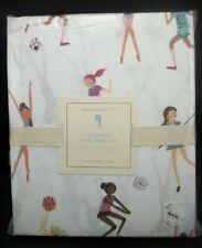 POTTERY BARN KIDS ORGANIC FAYE SHEET SET TWIN GIRLS SPORTS #1253