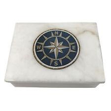 "4"" White Soap Stone Nautical Rose Trinket-Jewelry Box"