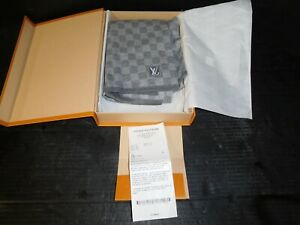 New Authentic Louis Vuitton PETIT DAMIER SCARF Grey...Free Shipping