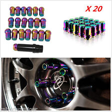 20*Colorful Chrome M12×1.5mm Lug Nuts Extended Racing Wheel Rim With Lock New!!!
