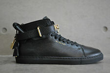 Buscemi 100mm Leather Mid Top Sneaker - Black/Gold 39 EUR 5 UK