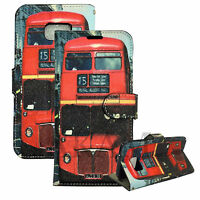 Leather Book Wallet Flip Case Cover London Red Bus For Samsung Galaxy S7 G930F