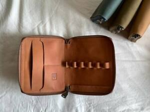 Shibui 5 Pen Case in Saddle Brown - Genuine Leather - NEW