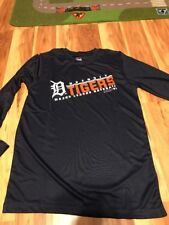 Majestic MLB Detroit Tigers Boy's Shirt Long Sleeve Athletic Size Medium