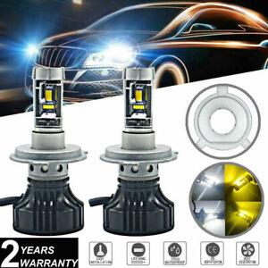 2x H4 9003 LED Headlight Bulb Kit 60W 9000LM Hi/Lo Beam White&Yellow Dual Color