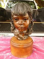 GLENNA GOODACRE BRONZE BUST OF YOUNG GIRL TITLED TUNG SE
