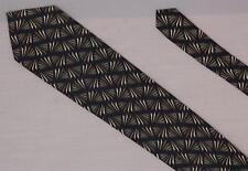 Jhane Barnes Geometric Silk Necktie Vintage Tie Navy Brown Gold FREE SHIPPING