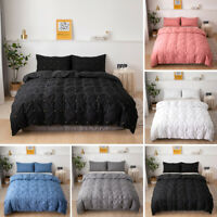 Modern Bed Quilted Grid Duvet Cover Pillow Cases Twin Full Queen King All Size