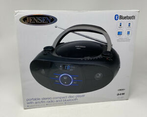 Jensen JEN-CD-560 AM/FM Stereo CD Player Bluetooth Blue Ambient Lighting Black