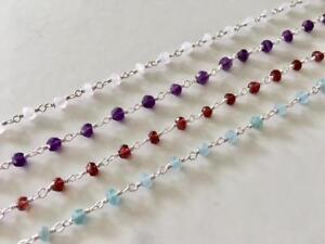 Sterling Silver Chain Anklet Gemstone Amethyst Garnet Rainbow Moonstone Apatite