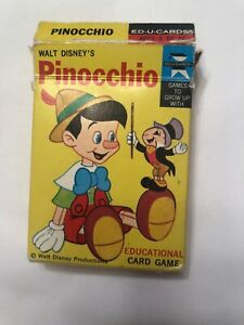 WALT DISNEY'S PINOCCHIO WORD CARD GAME 1968 ED-U-CARDS