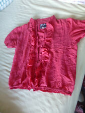 Pretty red cotton & silk blouse 'the dolls boutique' sz 12