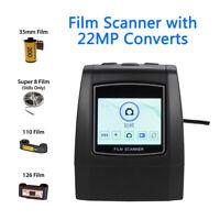 22MP Film Scanner 126KPK/135/110/Super 8 Films Color LCD Viewer Compatible PC