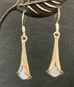 925 Sterling Silver Rainbow Moonstone Drop Earrings Women Teardrop Flower Pear