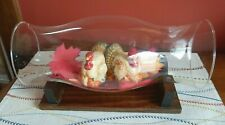 Hurricane Glass Wooden Cradle Base Stand Display Centerpiece for Flowers Etc