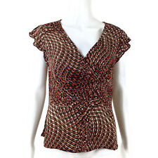 Alfani Womens Crossover V Neck Geometric Print 100% Silk Blouse Top Size 12
