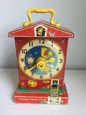 Vintage 1968 Fisher Price Teaching Clock Wind Up & Music Works Perfectly