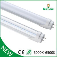 T8 LED Light Tube 4FT 6000K Dual-End Powered Ballast Removal Clear Milky Cover