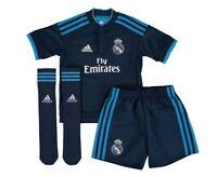 adidas REAL MADRID JUNIOR MINI KIT NAVY KIDS FOOTBALL SOCCER FULL KIT SHORTS NEW