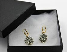 Genuine Catherine Popesco Pavé Oval Swarovski Gold Plated Earrings #6151
