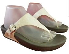 0a5b95cb9110b4 SIZE EUR 41  US 9 FITFLOP WOMAN SANDALS THONGS OFF WHITE METALLIC LEATHER