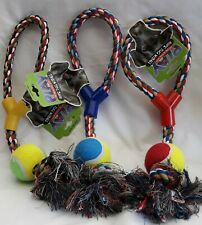Dog 40cm Rope Tug Toy with Ball - Heavy Duty Strong Chew Toy