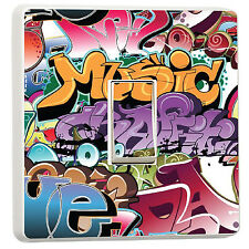 Graffiti tag Music teenager bedroom light switch cover sticker (11485960)