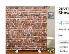 Rare Brick Wall Shower Curtain 3D waterproof Polyester  6'x6'  NIP