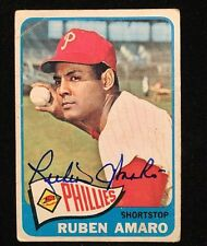 RUBEN AMARO 1965 TOPPS AUTOGRAPHED SIGNED AUTO BASEBALL CARD 419 PHILLIES