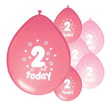 """20 x 2nd Anniversaire Rose Mélange Ballons"""" 2 aujourd'hui """"Deuxième Anniversaire Ballons (PA)"""