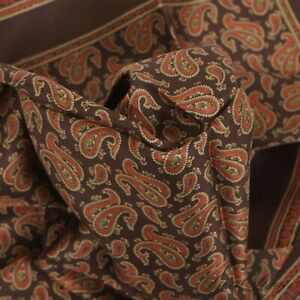 LNWOT CLASSIC Brown Hand Rolled Foulard Twill Red Green Paisley Pocket Square NR