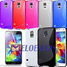 2 Fundas GEL TPU S-LINE + 2 PROTECTORES Colores para Samsung GALAXY S5 SV G900