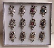 Set Of 12 Metal Owl Rings. New In Display Box. Adjustable Band. Wholesale.
